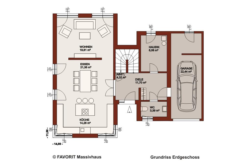 Concept design 162 e3 bau wohnkonzepte gmbhe3 bau for Grundriss einfamilienhaus mit integrierter garage